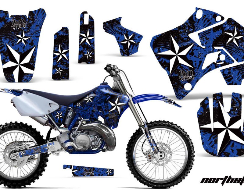 AMR Racing Dirt Bike Graphics Kit Decal Sticker Wrap For Yamaha YZ125 YZ250 1996-2001áNORTHSTAR BLUE