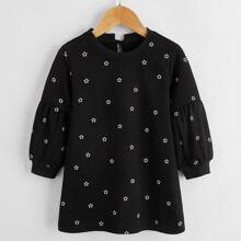 Sweatshirt Kleid mit Stern Muster und Bischofaermeln