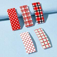 5pcs Plaid & Polka Dot Hair Clip