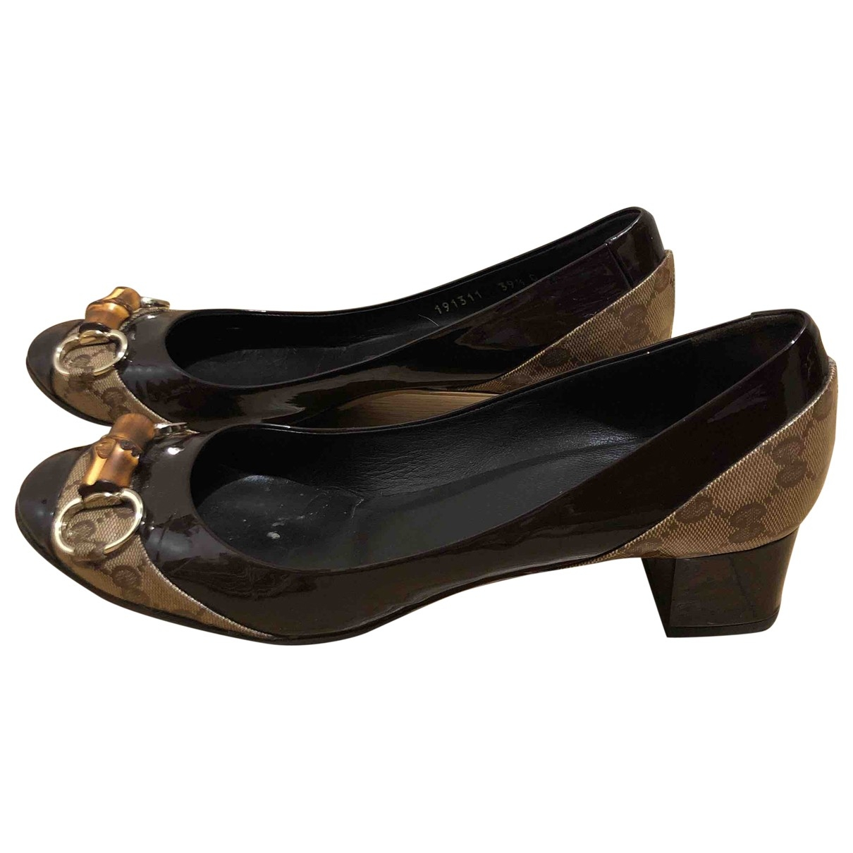 Gucci \N Brown Patent leather Flats for Women 39.5 EU