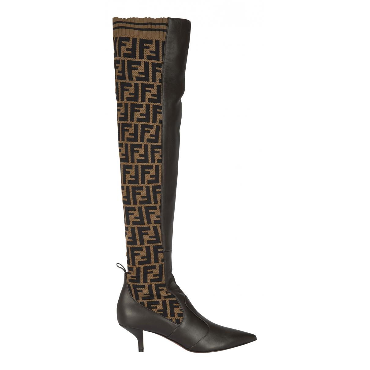 Fendi N Brown Cloth Boots for Women 8 UK