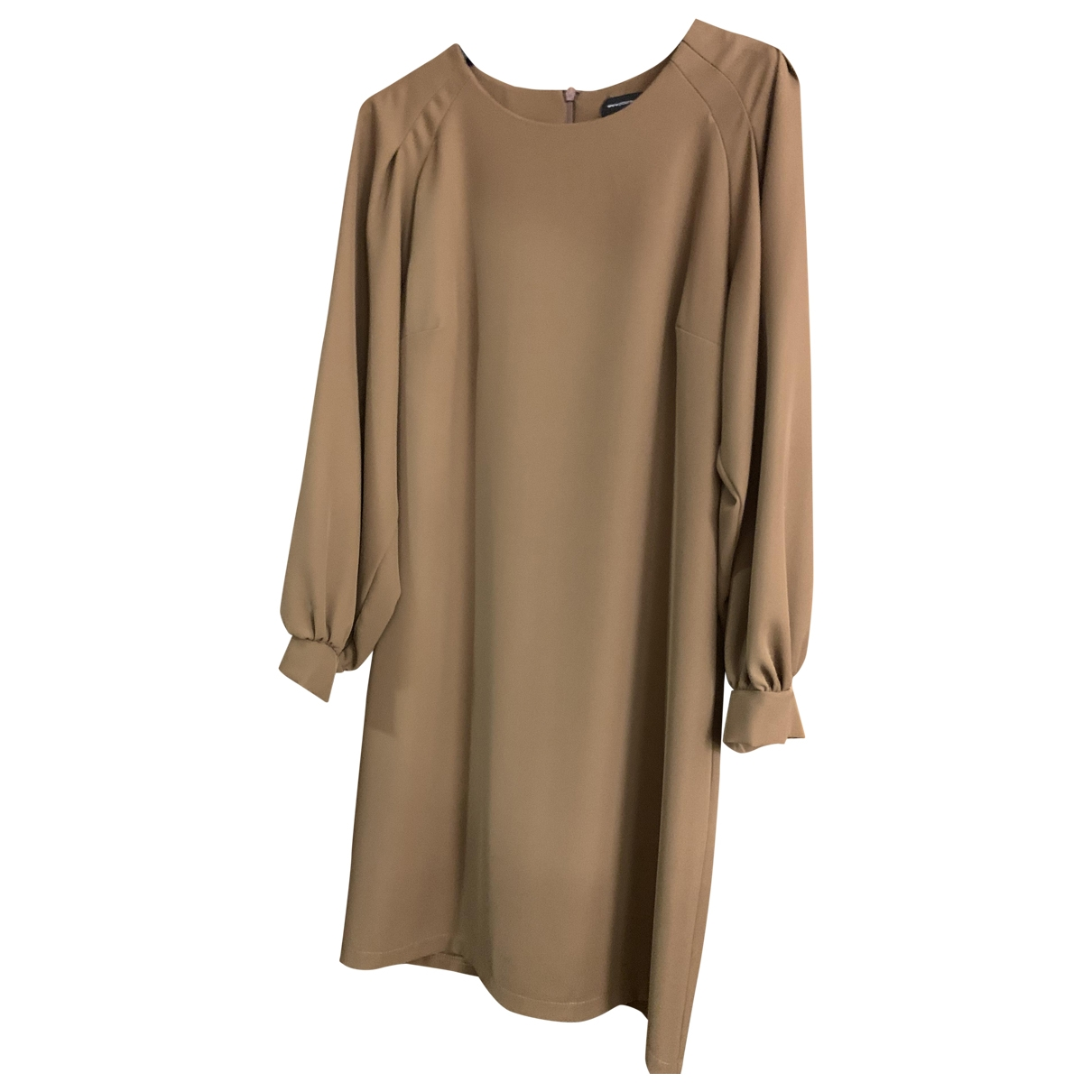Non Signe / Unsigned Manche ballon Kleid in  Kamel Polyester