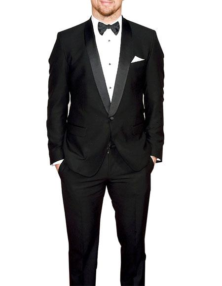 Men's 1 Button Black Shawl Lapel Single Breasted Tuxedo