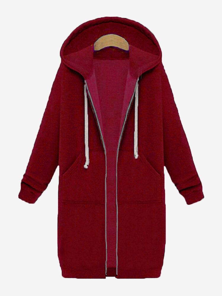 Casual Women Long Sleeve Zipper Hooded Pockets Coat