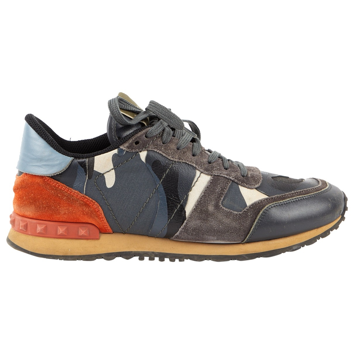 Valentino Garavani Rockrunner Sneakers in  Grau Leinen