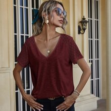 Contrast Lace V Neck Tee