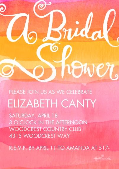 Bridal Shower 5x7 Cards, Standard Cardstock 85lb, Card & Stationery -Watercolor Stripes Shower