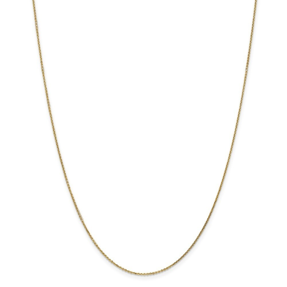 Curata 14k Yellow Gold Solid  0.95mm Diamond Cut Cable Chain Necklace (Lobster)  Options:  16 18 20 22 24  26 30 (30 Inch)