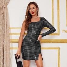 Kleid mit einer Schulter, Schlitz am Saum und Pailletten