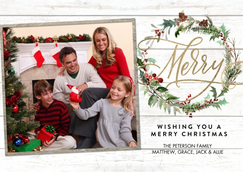 Christmas Photo Cards 5x7 Cards, Standard Cardstock 85lb, Card & Stationery -Christmas Gold Merry Wreath by Tumbalina