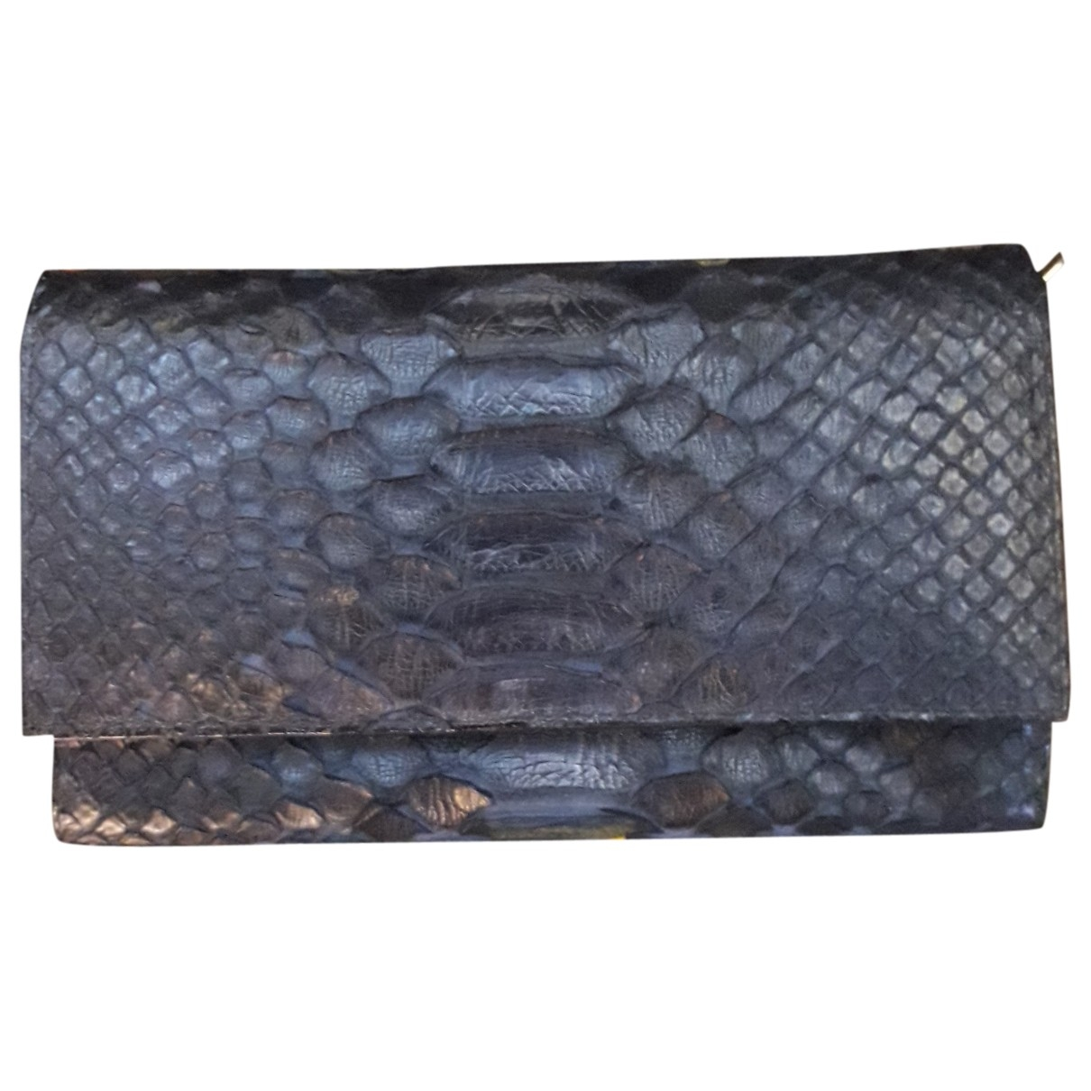 Non Signé / Unsigned \N Black Python wallet for Women \N