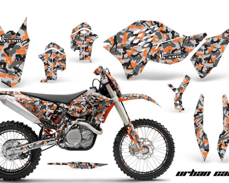 AMR Racing Graphics MX-NP-KTM-C5-07-11-UC O Kit Decal Wrap + # Plates For KTM SX/XCR-W/EXC/XC/XC-W/XCF-W 2007-2011áURBAN CAMO ORANGE