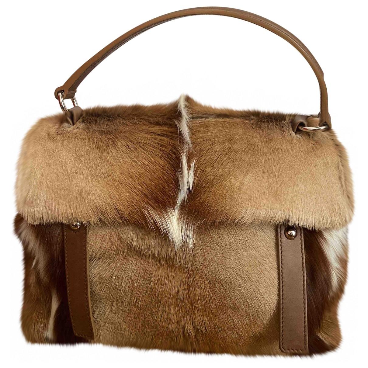 Yves Saint Laurent Muse Two Handtasche in  Braun Kalbsleder in Pony-Optik