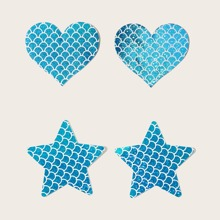 2pairs Glitter Fish Scale Nipple Cover