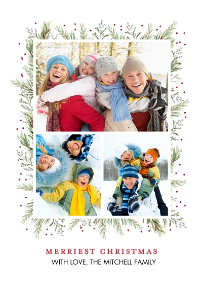 Christmas Photo Cards 5x7 Cards, Premium Cardstock 120lb, Card & Stationery -Christmas Garland Borders by Tumbalina