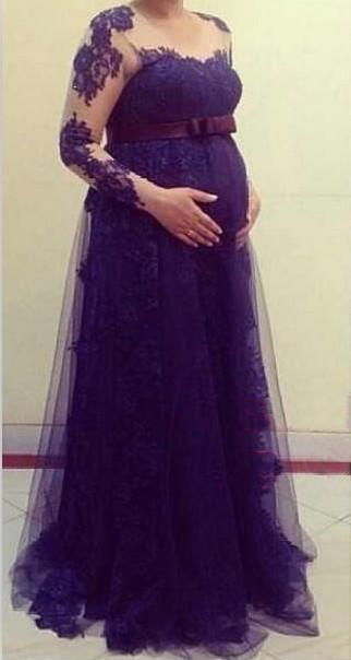 Nww llegada Tulle manga larga vestido de maternidad de encaje mas el tamaño de los vestidos de ducha de bebe BA5331