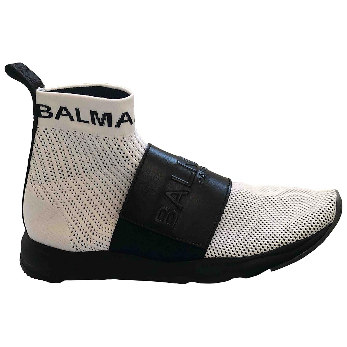 Balmain \N Sneakers in  Weiss Leinen