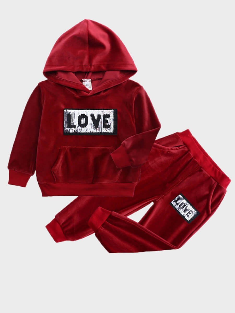 LW Lovely Sportswear Hooded Collar Letter Print Wine Red Girl Two-piece Pants Set
