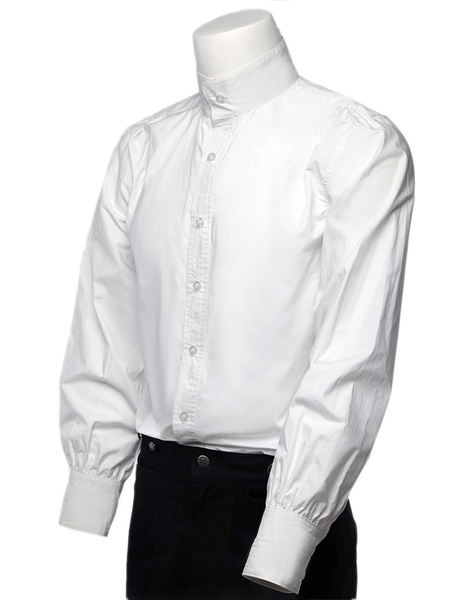 Milanoo Retro Steampunk Shirts Men's White Long Sleeve Stand Collar Vintage Dress Shirts Halloween
