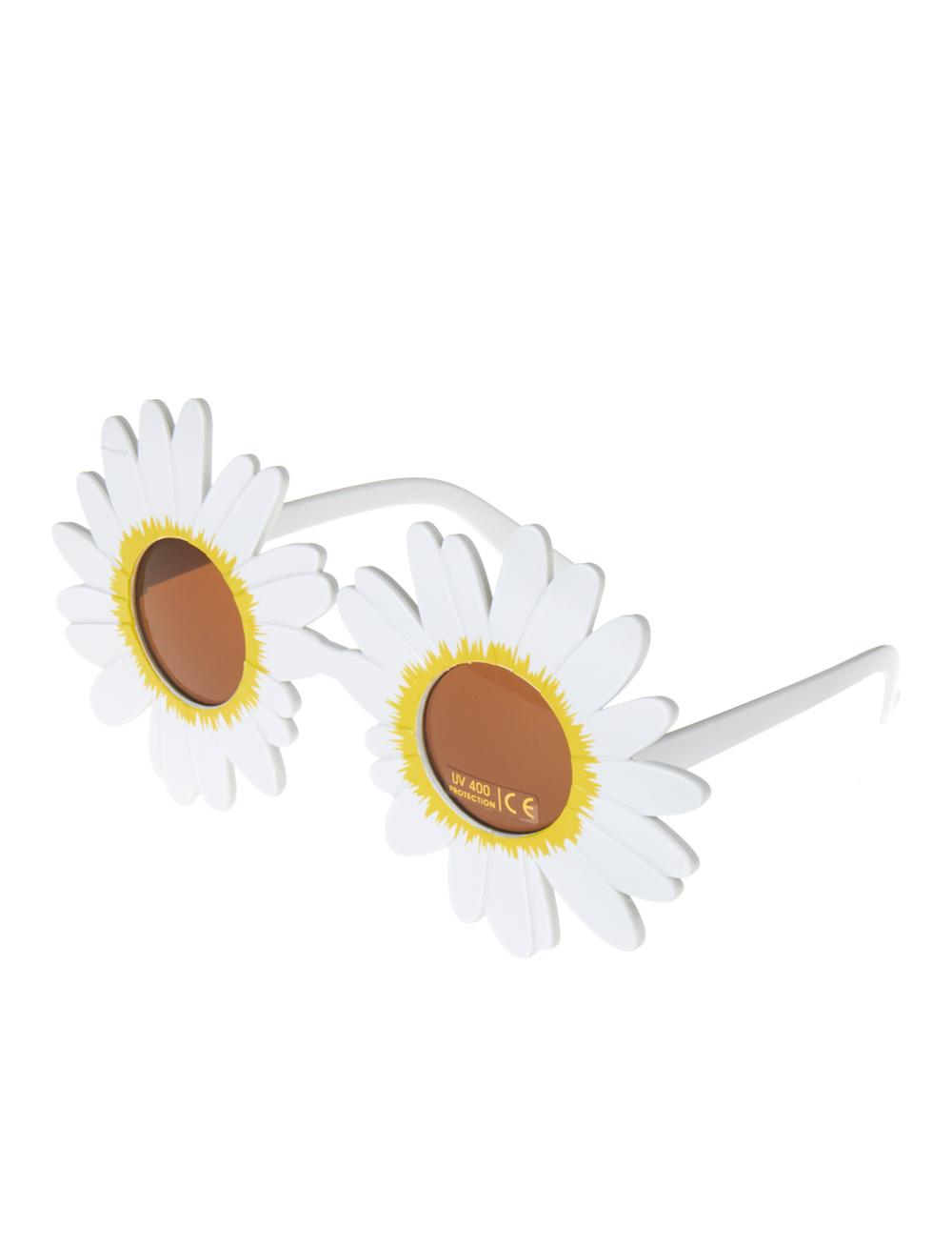 Kostuemzubehor Brille Blumenrahmen weiss