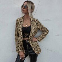 Shawl Collar Snakeskin Print Blazer