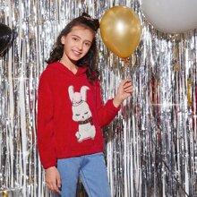 Girls Christmas Pompom Detail Rabbit Embroidery Teddy Hoodie