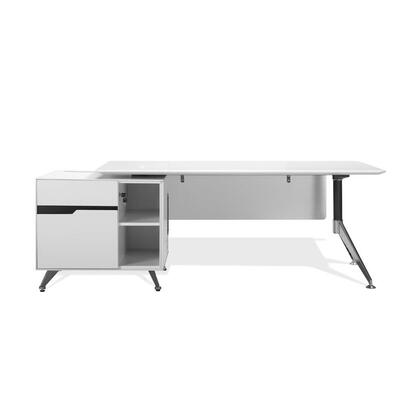 483-WH White Executive Desk with Left