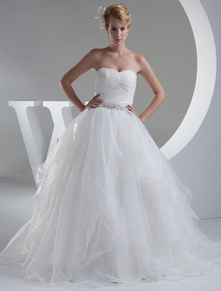 Milanoo  Tiered Wedding Dress A-Line Sweatheart Pleated Sash Beading Floor Length Bridal Dress