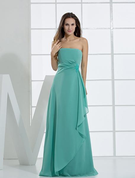 Milanoo Romantic A-line Strapless Floor Length Chiffon Bridesmaid Dress