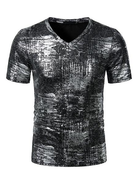 Milanoo Camisetas negras Cuello en V Manga corta Camiseta Tops de verano