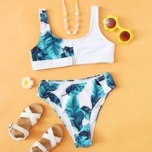 Girls Tropical High Waisted Bikini Swimsuit