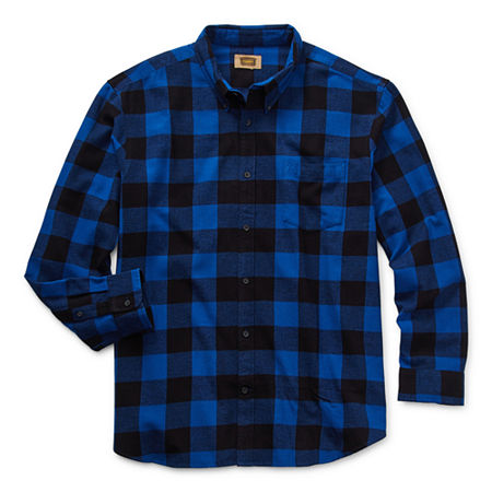 The Foundry Big & Tall Supply Co. Big and Tall Mens Long Sleeve Flannel Shirt, X-large Tall , Blue
