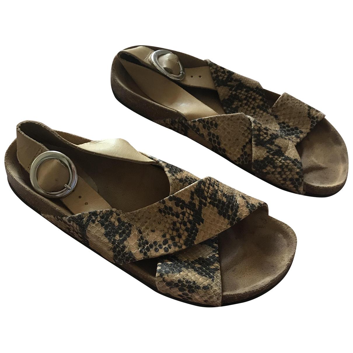 Zara - Sandales   pour femme en cuir - camel