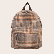 Knot Detail Plaid Backpack