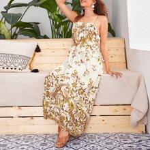 Floral Print Tie Front Ruffle Trim Cami Dress