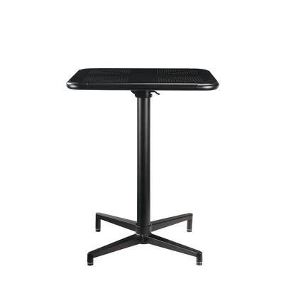 Olson Collection 72095 Folding Table  Square Pedestal Table  Folding Top  Metal Top  Metal Pedestal w/4-Star Base  in Black