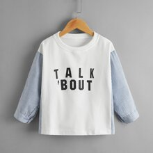 Toddler Girls Contrast Striped Sleeve Letter Graphic Sweatshirt