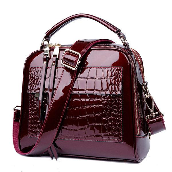 Patent Leather Crocodile Pattern Handbag Shell Solid Leisure Crossbody Bag