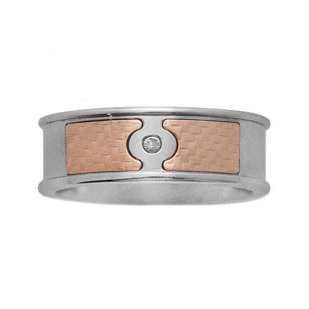 Mens 18K Yellow Gold & Stainless Steel Diamond-Accent Band, 11 , Multiple Colors