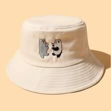 Sombrero cubo con bordado de dibujos animados