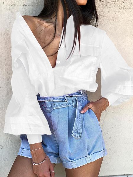 Yoins CELMIA Button Design Crew Neck Long Sleeves Blouse