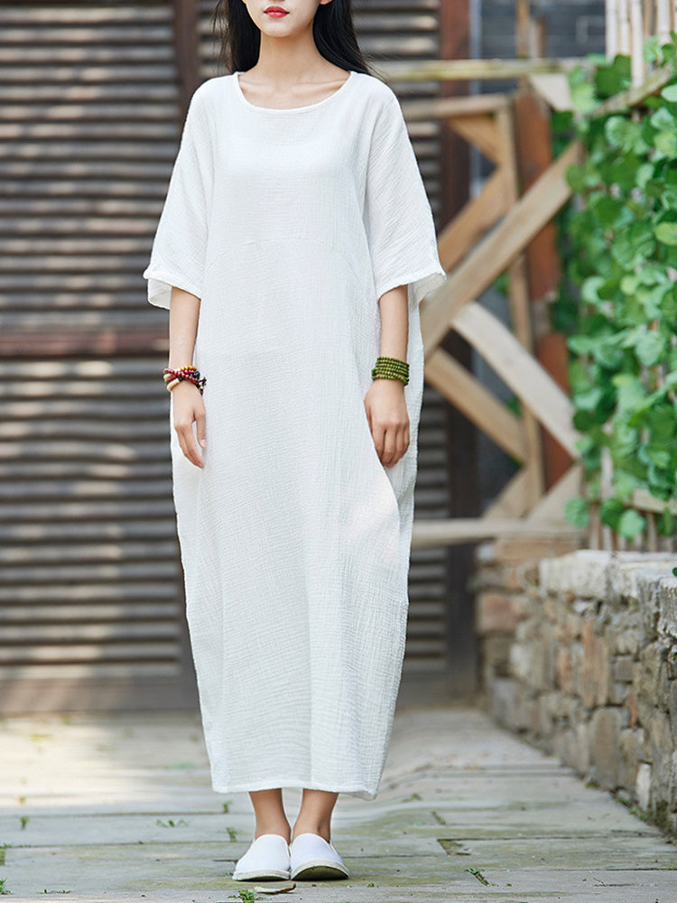Pure Color Half Sleeve Vintage Dresses for Women