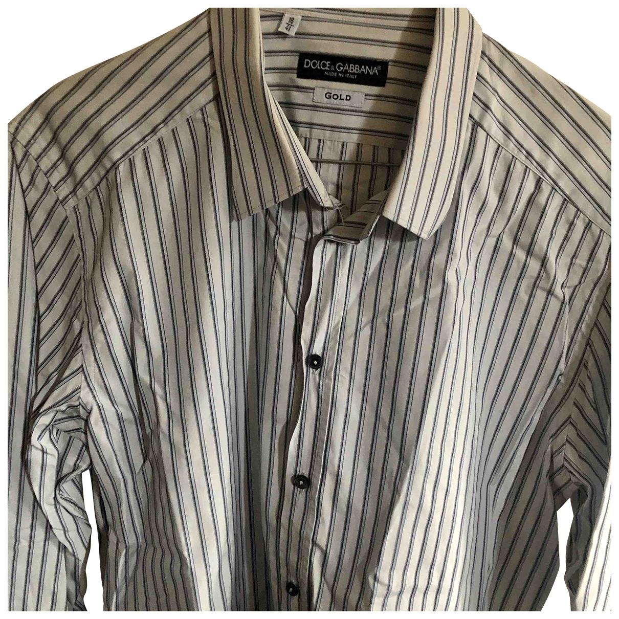 Dolce & Gabbana \N White Cotton Shirts for Men 41 EU (tour de cou / collar)