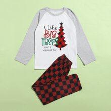 Conjunto de pijama de guingan con navidad