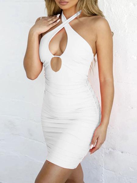 Milanoo Club Dress For Women Halter Sexy Cut Out Sleeveless Polyester Backless Light Sky Blue Sexy Dress