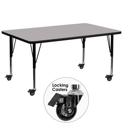 Xua Collection XU-A3072-REC-GY-T-P-CAS-GG Activity Table with Locking Casters  Height Adjustable Short Tubular Steel Legs  Scratch/Stain Resistant