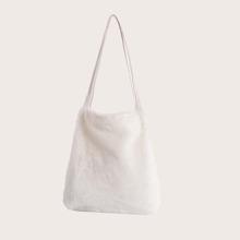 Bolsa de hombro con diseño de pelo sintetico
