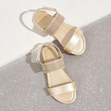 Girls Glitter Strap Slingback Flat Sandals