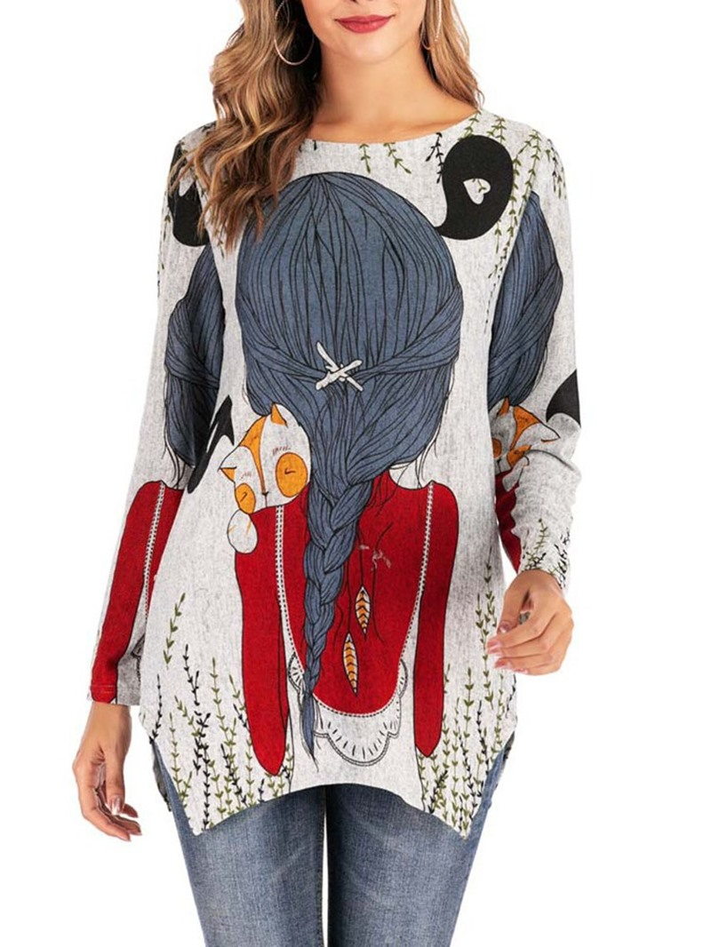 Ericdress Mid-Length Cartoon Long Sleeve Loose Casual Women's T-Shirt