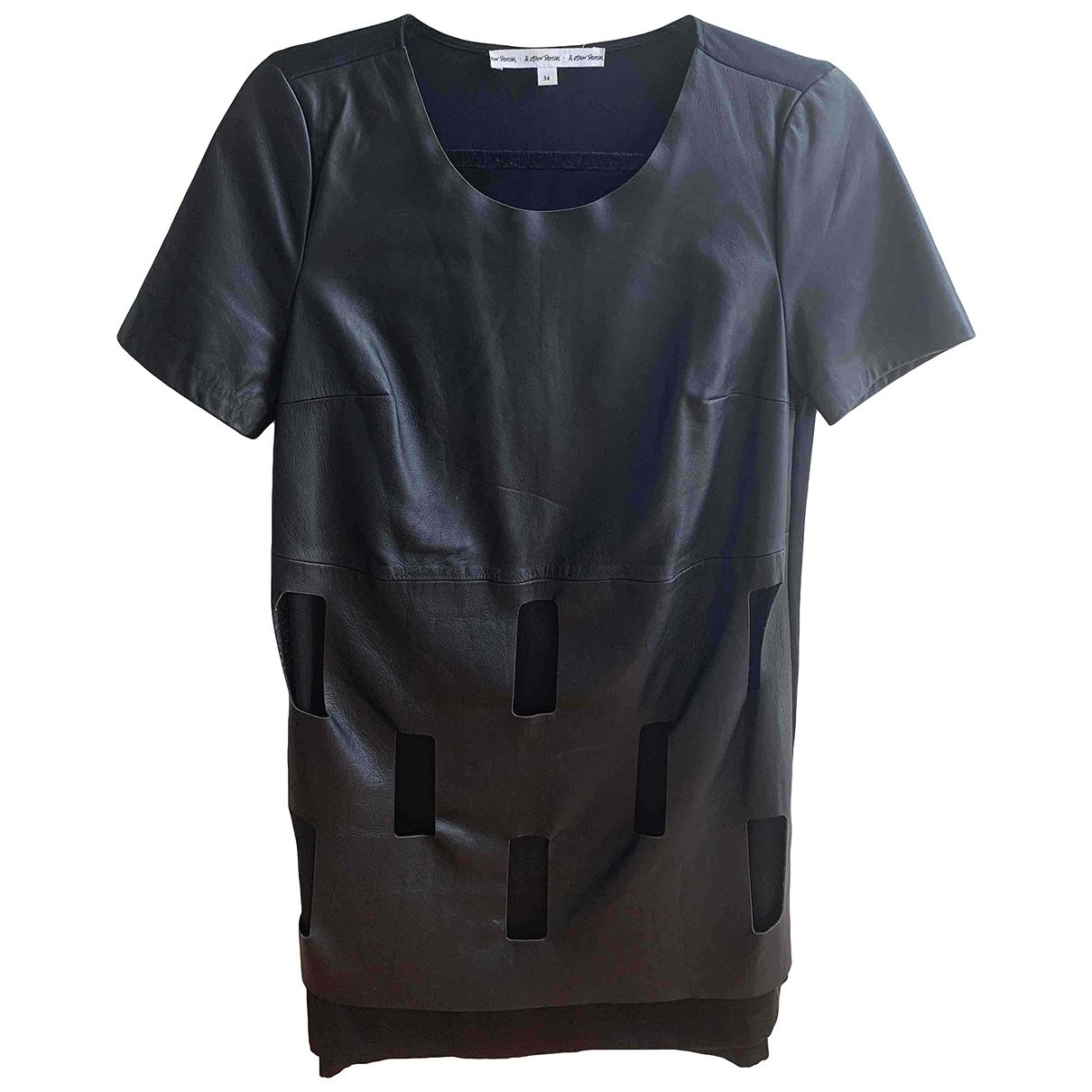 & Other Stories - Robe   pour femme en cuir - noir